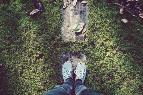 footwear grass leaves