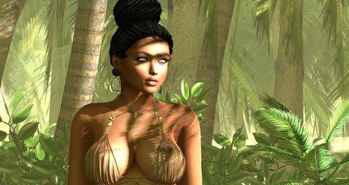 forest  woman  bikini