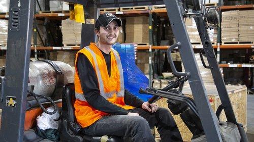 forklift  worker  warehouse