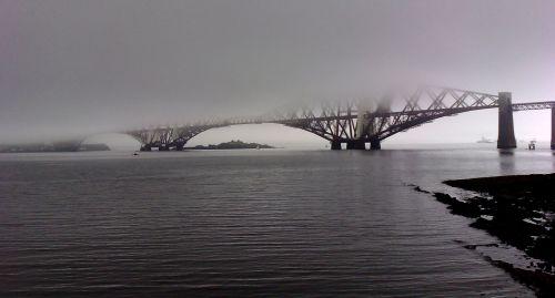 forth bridge railway misty
