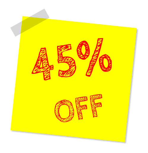 forty five percent off discount sale