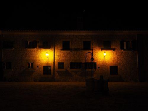 fountain at night illuminated