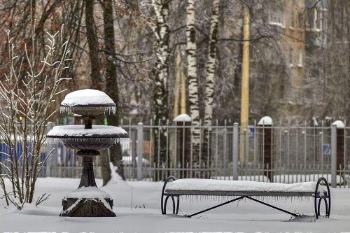 fountain frozen winter