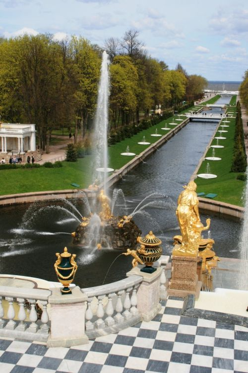 Fountains And Sea Canal At Peterhof