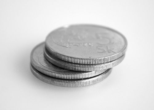 four coins five crowns silver