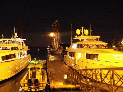 Four Mast Schooner In Moonlight
