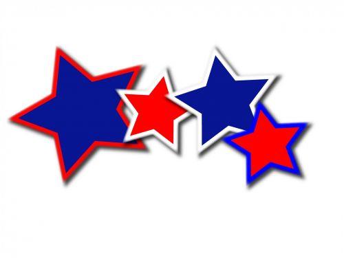 žvaigždės, raudona, balta, mėlynas, piešimas, keturių žvaigždučių piešimas