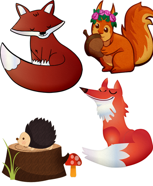 fox  forest animals  squirrel