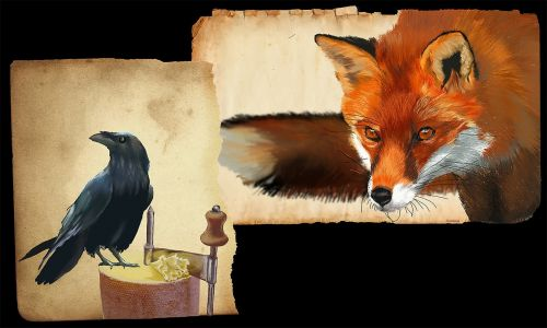 fox and crow drawing graphics tablet tête de moine