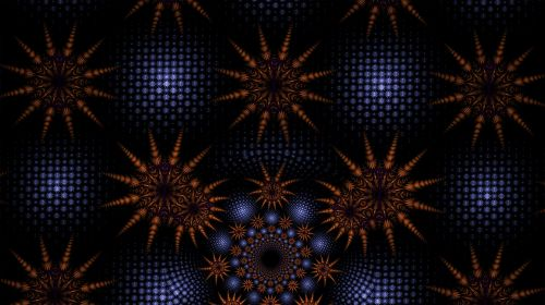 fractal blue spheres blue