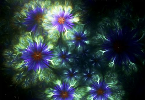 fractal painting blue floral