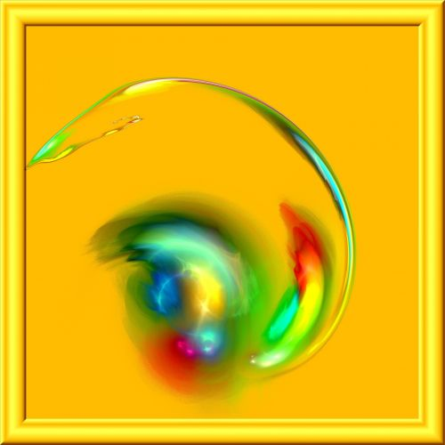 fraktalas, gražus, grožis, 3d, stiklas, rėmas, geltona, fonas, fraktalinis grožis