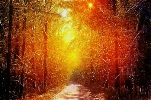 kritimas, ruduo, auksinis, gamta, medžiai, miškas, poveikis, fraktalas, sirrealis, fraktalinis kritimas