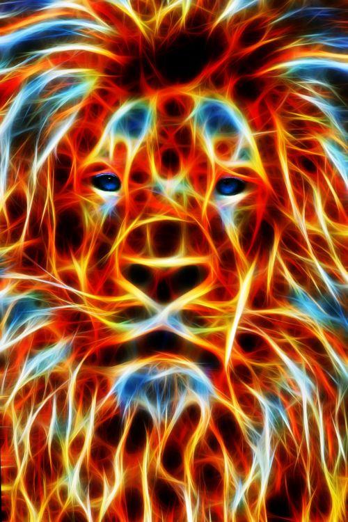Fractal Flame Lion Portrait