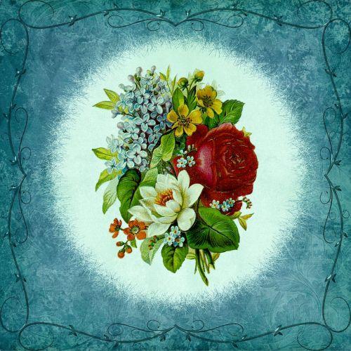 frame bouquet ornament