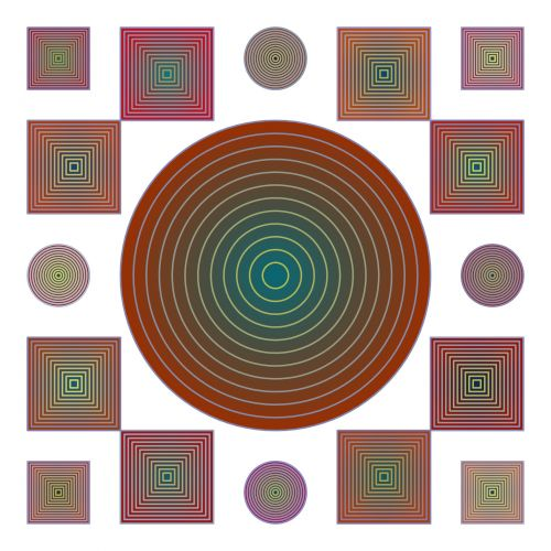 Frame Of Circles And Squares