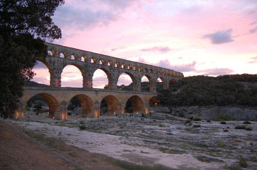 france sunset aqueduct