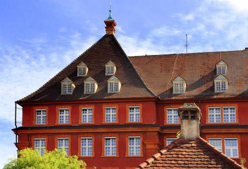 freiburg red house blue sky