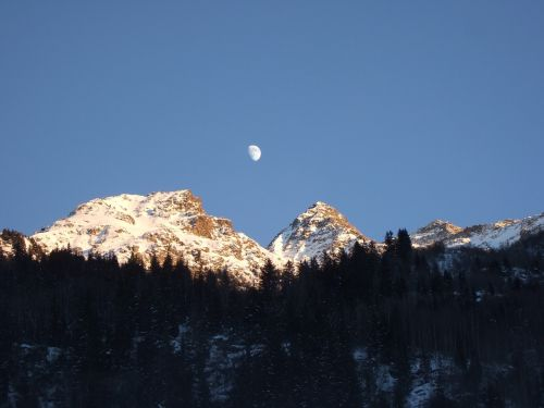 french alps moon over alps alps