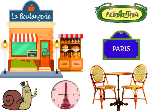 french bakery  paris  table and chairs