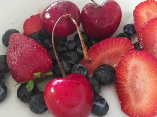 Blueberries Strawberries Cherries