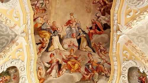 fresco  ceiling painting  maria