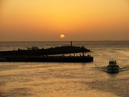 freshwater fish people marina sunset return flight
