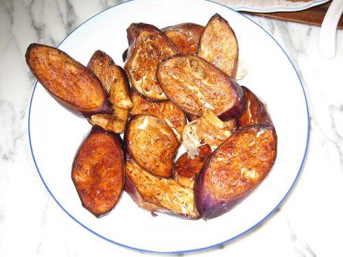 fried eggplant vegetables cooking