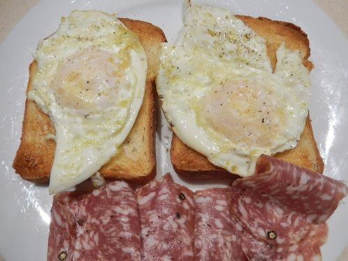fried eggs salami peppered