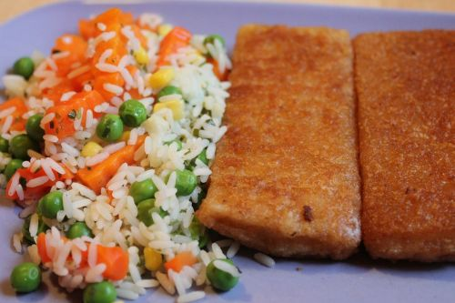 fried fish rice carrots