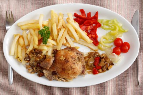 Fries, Meat And Vegetable