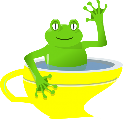 frog cup waving