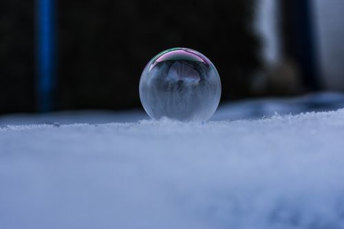 frozen soap bubbles winter