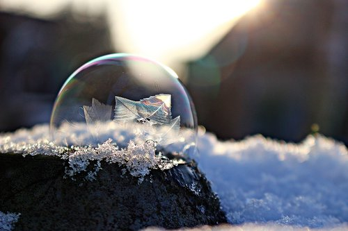 frozen bubble  soap bubble  ice bubble