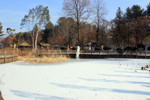 užšalęs & nbsp, tvenkinys, tvenkinys, sušaldyta, sniegas, užšaldyti, šaltas, gamta, medžiai, parkas, užšalus tvenkinys