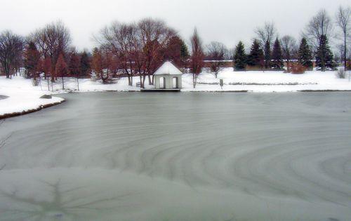 Frozen Pond In Park