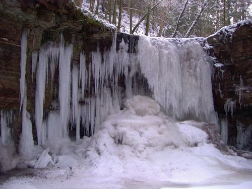 frozen waterfall winter icicle