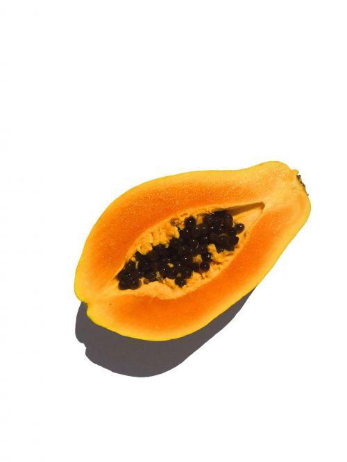fruit papaya cut in half
