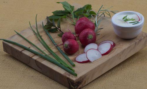 fruit radishes chives
