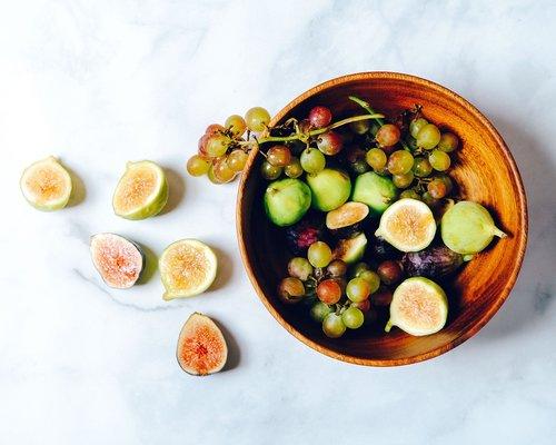 fruit bowl  figs  grapes