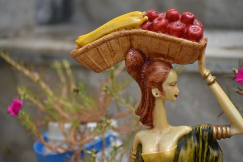 fruit woman seller figurine