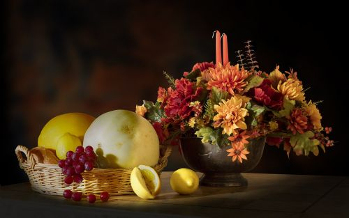 fruits flowers candle