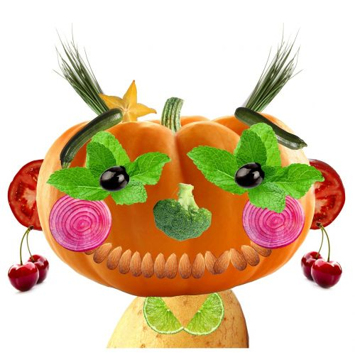 fruits and vegetables character pumpkin