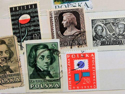 fryderyk chopin postage stamps paper