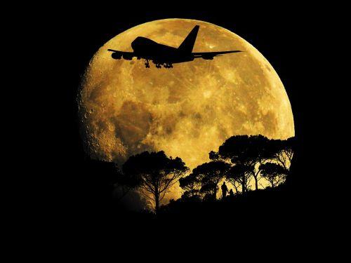 full moon night aircraft