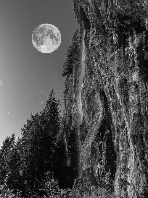 full moon night rock