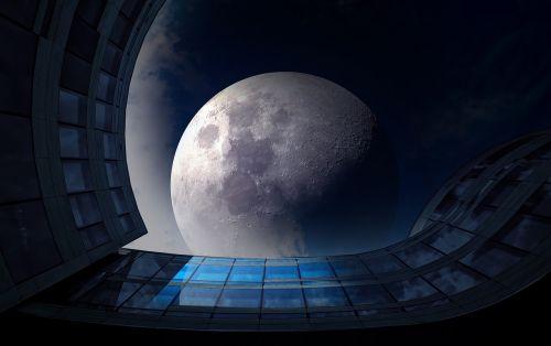 full moon night glass facade