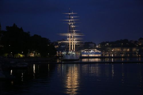 full-rigged ship stockholm water