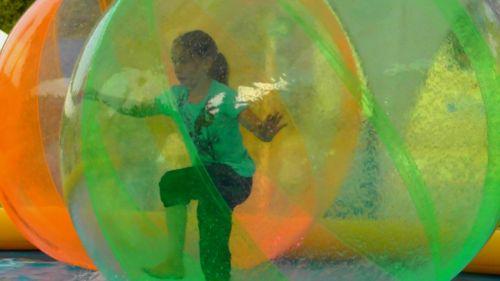 fun ball,action,fun,girl,air ball,face,joy,smile,children,balance