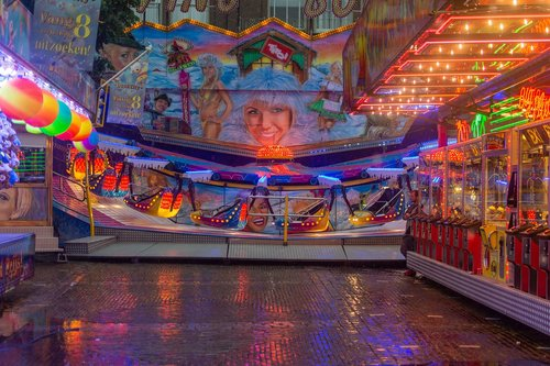 funfair  rain  light